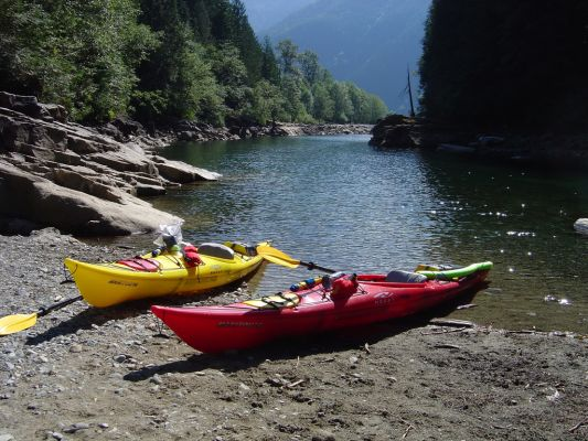 Kayaks in Gold creek